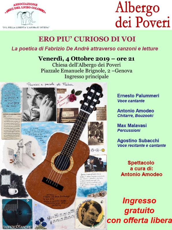 Ero più curioso di voi - La poetica di Fabrizio De Andrè attraverso canzoni e letture